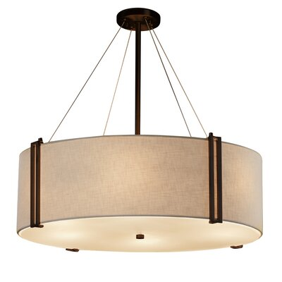 Kenyon 8-Light Drum Pendant Shade Color: Cream, Size: 12 H x 36.5 W x 36.5 D, Finish: Brushed Nickel