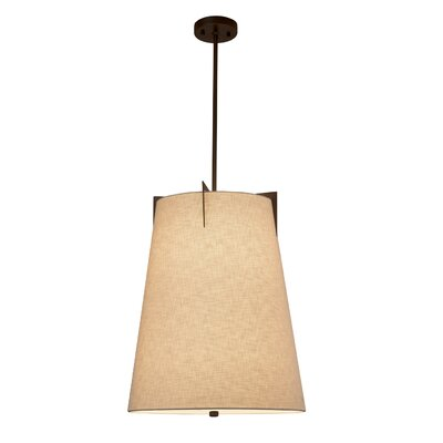 Kenyon 2-Light Tapered Pendant Shade Color: Cream, Finish: Dark Bronze