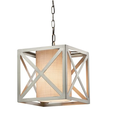 Kenyon Foyer Pendant Shade Color: Cream, Finish: Dark Bronze