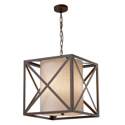 Kenyon 4-Light Foyer Pendant Base Finish: Dark Bronze, Shade Color: White