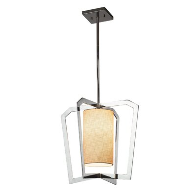 Kenyon 1-Light LED Foyer Pendant Base Finish: Polished Chrome, Shade Color: Cream