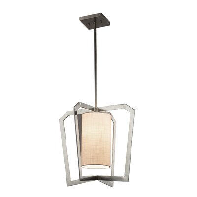 Kenyon 1-Light Foyer Pendant Base Finish: Brushed Nickel, Shade Color: Cream
