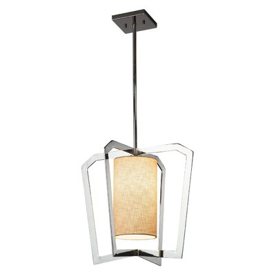 Kenyon 1-Light Foyer Pendant Base Finish: Polished Chrome, Shade Color: Cream