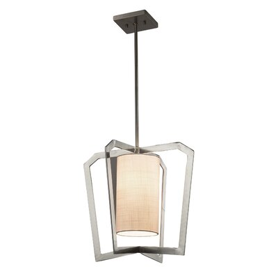 Kenyon 1-Light Foyer Pendant Base Finish: Matte Black, Shade Color: Cream
