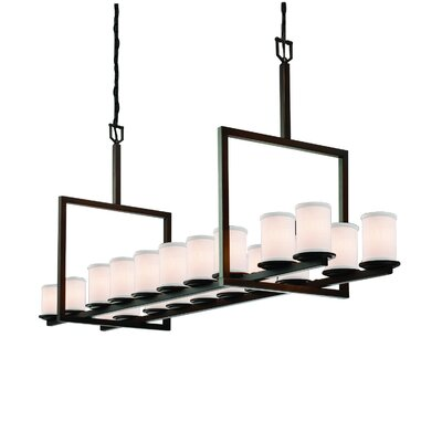 Rife Bridge 20-Light Candle-Style Chandelier Finish: Dark Bronze, Shade Color: Cream