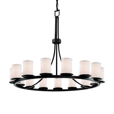 Rife 15-Light Candle-Style Chandelier Finish: Dark Bronze, Shade Color: White