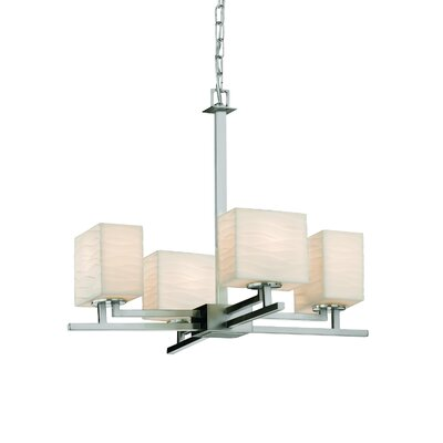 Wiedman 4-Light Candle-Style Chandelier Finish: Brushed Nickel, Shade Pattern: Waterfall