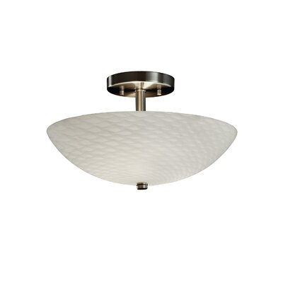 Salinas Ring 2-Light Semi Flush Mount Fixture Finish: Brushed Nickel, Shade Pattern: Almond