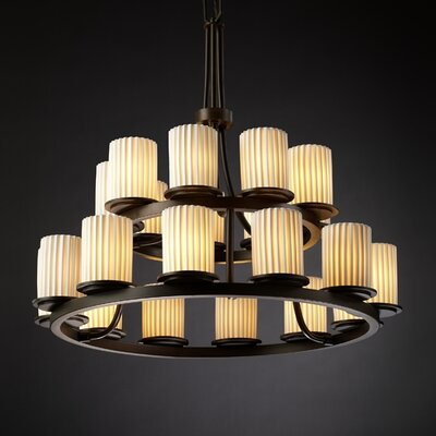 Devaughn 21-Light Candle-Style Chandelier Finish: Matte Black, Shade Pattern: Bamboo