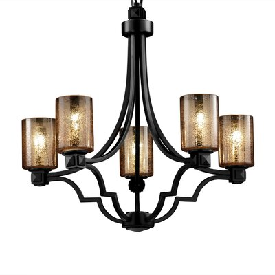 Carner 5 Light 100W Chandelier Color: Matte Black, Shade Color: Mercury