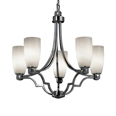 Carner Transitional 5 Light 100W Chandelier Color: Brushed Nickel, Shade Color: Ribbon