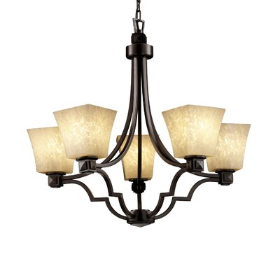 Carner 5 Light 100W Chandelier Color: Brushed Nickel, Shade Color: Weave
