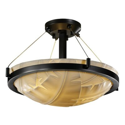 Kelsie 3-Light Semi Flush Mount Impression: Banana Leaf, Finish: Brushed Nickel