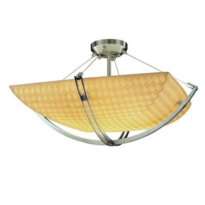 Thora 6-Light Round Bowl Semi Flush Mount Finish: Matte Black, Impression: Banana Leaf