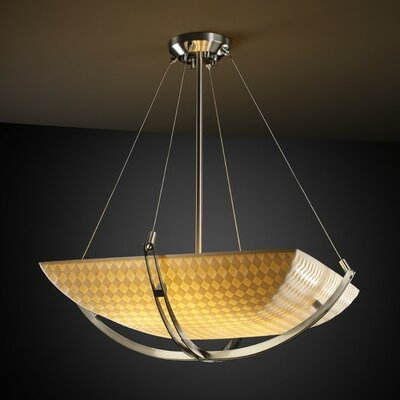 Thora 6-Light Inverted Pendant Finish: Brushed Nickel, Impression: Banana Leaf