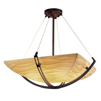Burberry 6-Light Square Bowl Inverted Pendant Metal Finish: Dark Bronze, Impression: Pleats