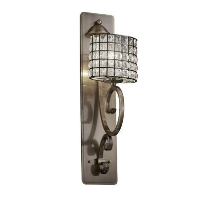 Justice Design Group Wire Glass Victoria 1 Lt Tall Wall Sconce -Finish:Dark Bronze, Shade Option:Grid w/ Opal, Shade Type:Cylinder w/ Flat Rim at Sears.com