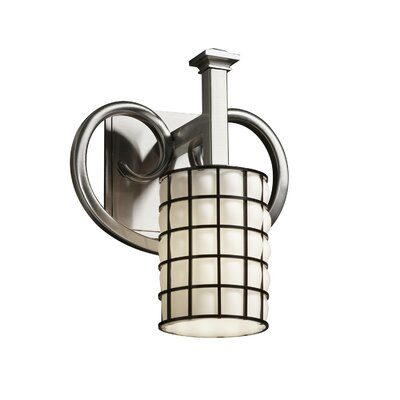 Justice Design Group Wire Glass Heritage 1 Lt Wall Sconce -Finish:Dark Bronze, Shade Option:Swirl w/ Clear Bubbles, Shade Type:Cylinder w/ Flat Rim at Sears.com