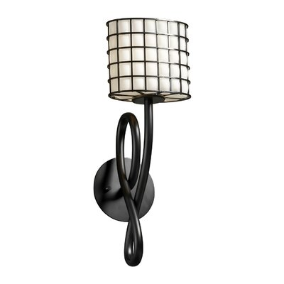 Justice Design Group Wire Glass Capellini 1 Lt Wall Sconce -Shade Option:Grid w/ Clear Bubbles, Finish:Matte Black, Shade Type:Cylinder w/ Flat Rim at Sears.com
