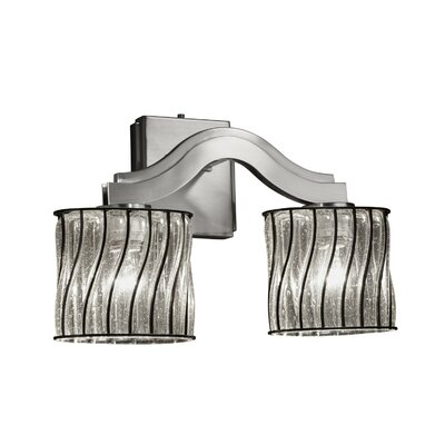 Justice Design Group Wire Glass Bend 2 Lt Wall Sconce -Finish:Brushed Nickel, Shade Option:Swirl w/ Clear Bubbles, Shade Type:Cylinder w/ Flat Rim at Sears.com
