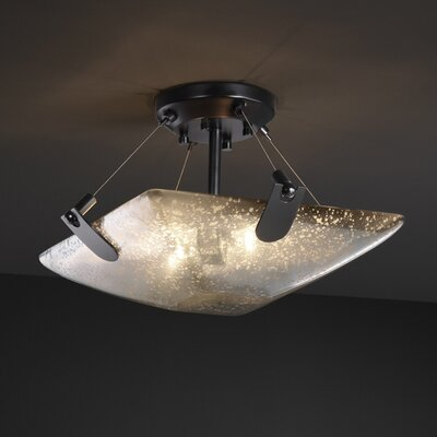 Miguelangel 2-Light Semi Flush Mount Shade Color: Opal, Finish: Matte Black