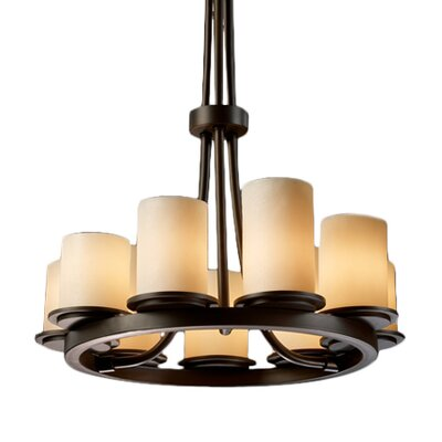Wantage 9-Light Shaded Chandelier Shade Color: Cream, Metal Finish: Dark Bronze