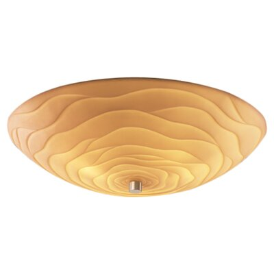Thora Bowls 6-Light Flush Mount Impression: Waves, Finish: Antique Brass