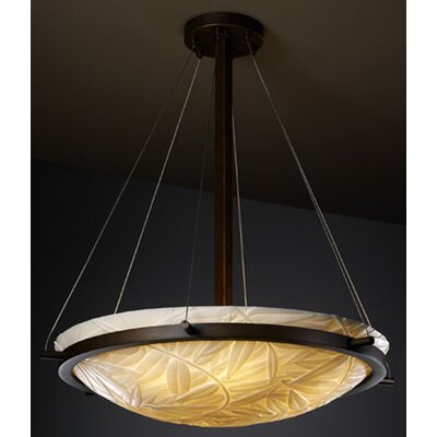 Thora 3-Light Round Metal Inverted Pendant Impression: Banana Leaf, Metal Finish: Matte Black, Size: 24 H