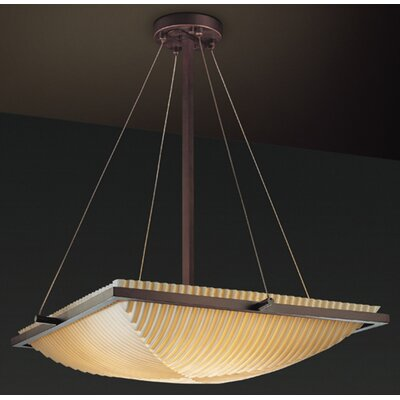 Burberry 3-Light Inverted Pendant Impression: Pleats, Metal Finish: Brushed Nickel