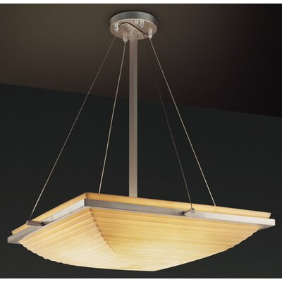 Thora 3-Light Inverted Pendant Impression: Sawtooth, Metal Finish: Brushed Nickel