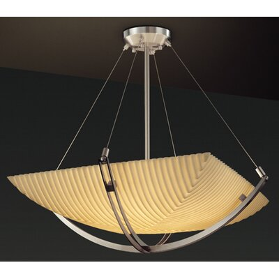 Thora 6-Light Square Bowl Inverted Pendant Impression: Pleats, Metal Finish: Dark Bronze