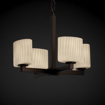 Lathan 4-Light Shaded Chandelier Shade Color: Ribbon, Metal Finish: Dark Bronze