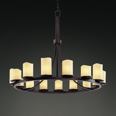 CandleAria Dakota 15 Light Chandelier Shade Option: Cylinder with Melted Rim, Shade Color: Cream, Metal Finish: Dark Bronze
