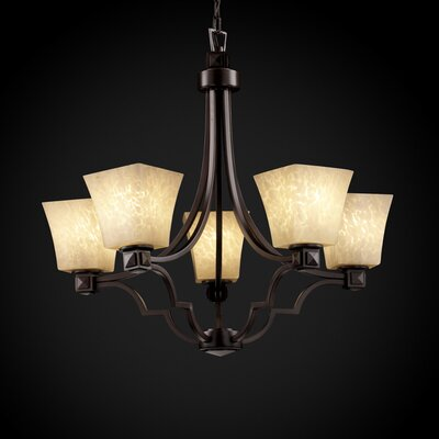 Luzerne 5-Light Shaded Chandelier Finish: Matte Black, Shade Color: Weave