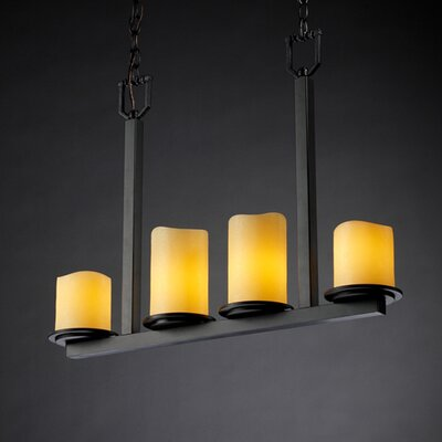 Wantage 4-Light Drum Pendant Shade Color: Amber, Metal Finish: Brushed Nickel