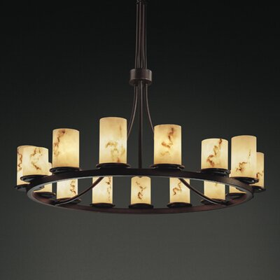 Keyon 15-Light Shaded Chandelier Shade Option: Cylinder with Flat Rim, Metal Finish: Dark Bronze