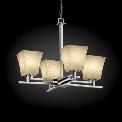 Woodbridge 4-Light Shaded Chandelier Shade Color: Weave, Metal Finish: Nickel