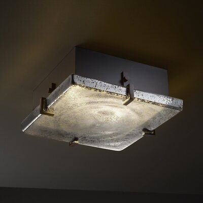 Luzerne 2-Light Square Flush Mount Finish: Dark Bronze, Shade Color: Mercury