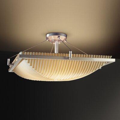 Justice Design Group Porcelina Ring 3 Light Square Semi Flush Mount - Impression: Pleats, Finish: Dark Bronze at Sears.com