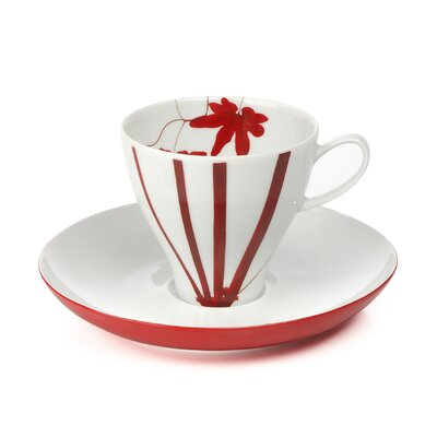 Mikasa Pure Red 4 oz Espresso Cup and Saucer Set