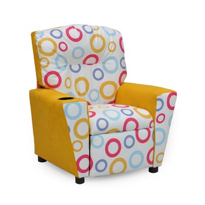 Mixy Spa Fiesta Yellow Suede Kid's Recliner with Cup Holder Color: Fiesta Yellow