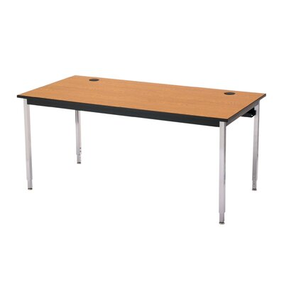 48 W 1500 Series Adjustable Height Computer Table with Cable Management Tabletop Finish: Bannister Oak, Base Finish: Chrome, Size: 60 W x 24 D