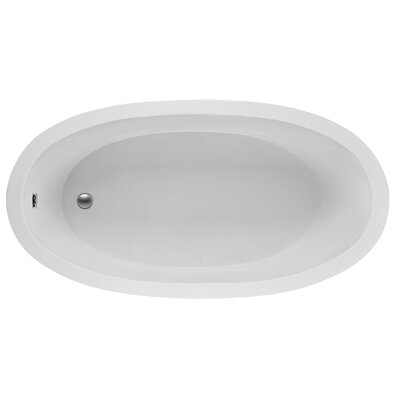Oval 72.5 x 36.38  Soaking Bathtub Finish: White
