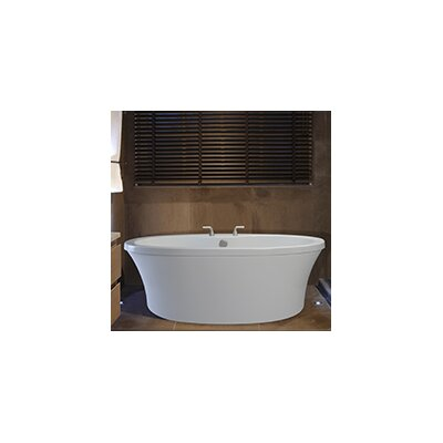 Center Drain Freestanding 66 x 36.75 Soaking Tub with Virtual Spout and Deck for Faucet Finish: White