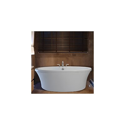 Center Drain Freestanding 66 x 36.75 Soaking Tub with Deck for Faucet Finish: White