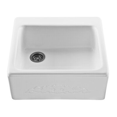 Reliance Embossed 25 x 22.25 Farmhouse/Apron Kitchen Sink Finish: Bone, Faucet Drillings: 4 Holes
