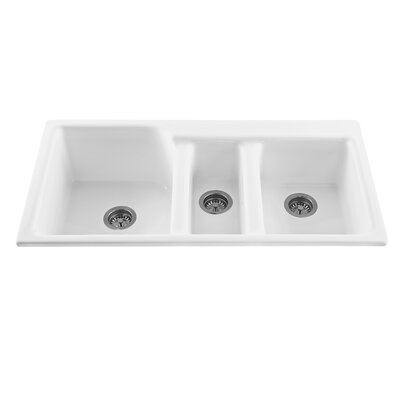 Triumph 42 x 22.25 Triple Bowl Kitchen Sink Faucet Drillings: 1 Hole, Finish: Biscuit