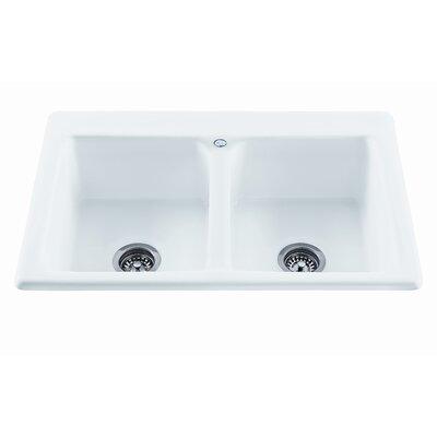 Reliance 33.25 x 22.25 Endurance Double Bowl Kitchen Sink Finish: White, Faucet Drillings: 2 Holes