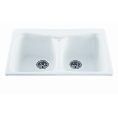 Reliance 33 x 22 Colonial Double Bowl Kitchen Sink Finish: White, Faucet Drillings: 3 Holes