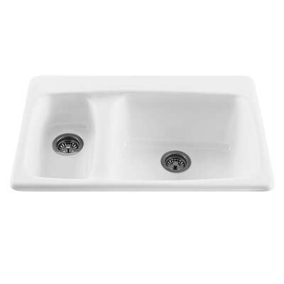 Reliance 33 x 22.25 Advantage Double Bowl Kitchen Sink Finish: White, Faucet Drillings: 3 Holes